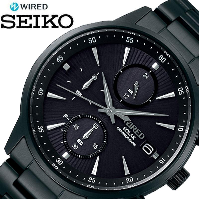 SEIKO 腕時計 セイコー 時計 ワイアード WIRED メンズ ブラック AGAD409 [ 人気 ブランド おすすめ おしゃれ かっこいい メタル ソーラー 大人 ビジネス 誕生日 プレゼント ギフト ]