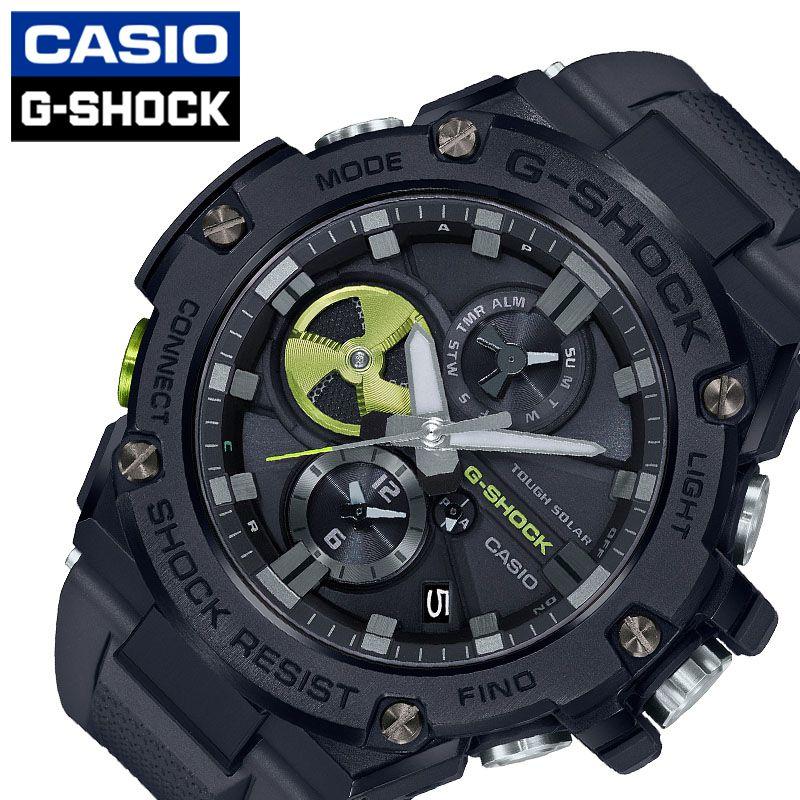 CASIO 腕時計 カシオ 時計 ジースティール G-SHOCK G-STEEL メンズ 腕時計 ブラック GST-B100B-1A3JF [ 人気 ブランド おすすめ おしゃれ Gショック スポーティー ジースティール ブラック 黒 メカ感 ライトグリーン 光沢 大人 スタイリッシュ ワンポイント ファッション ]