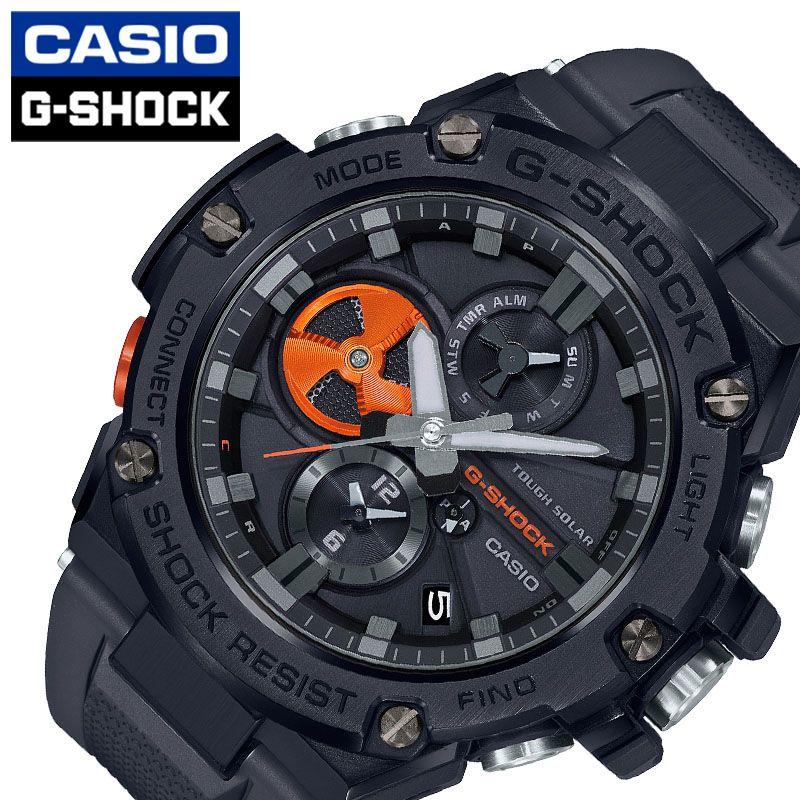 [当日出荷] CASIO 腕時計 カシオ 時計 ジースティール G-SHOCK G-STEEL メンズ 腕時計 ブラック GST-B100B-1A4JF [ 人気 ブランド おすすめ おしゃれ Gショック スポーティー ジースティール ブラック 黒 メカ感 オレンジ 光沢 スタイリッシュ ワンポイント ファッション ]