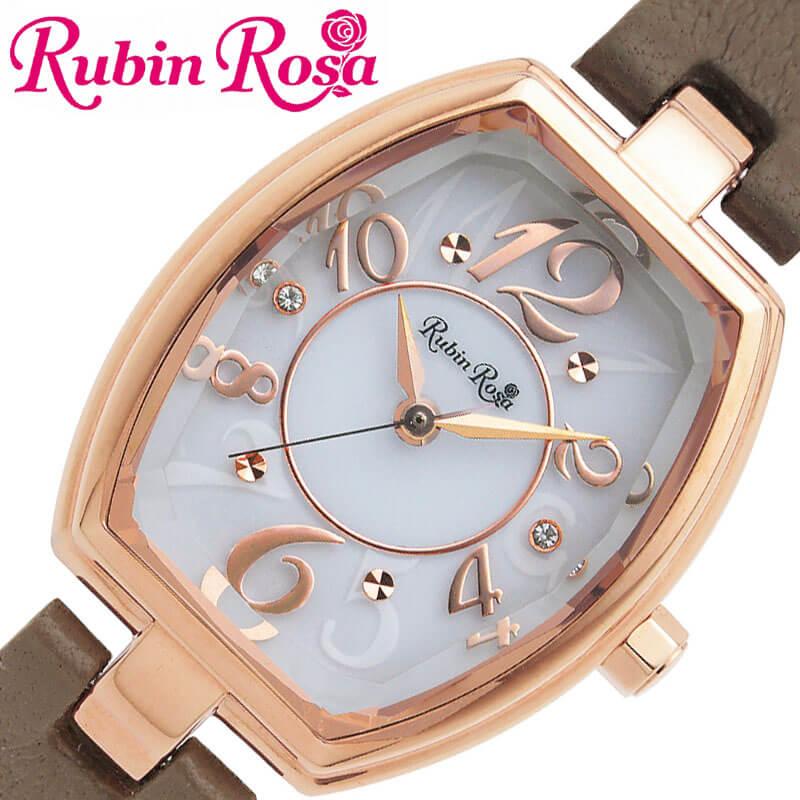 [当日出荷] RubinRosa 腕時計 ルビンローザ 時計 レディース 腕時計 ホワイト R018SOLPGW [ 人気 ブランド おすすめ おしゃれ 革ベルト グレージュ 大人 かわいい ビジネス オフィス カジュアル シンプル ちいさめ スワロフスキークリスタル ソーラー]