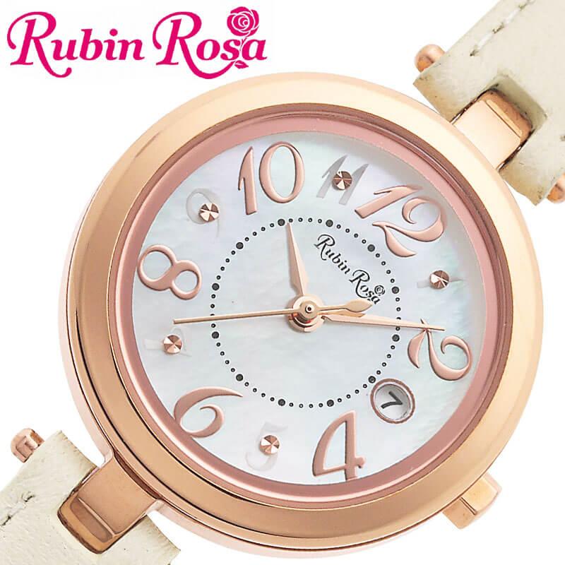 [当日出荷] RubinRosa 腕時計 ルビンローザ 時計 レディース 腕時計 ホワイト R220SOLPWH [ 人気 ブランド おすすめ おしゃれ 革ベルト ホワイト 大人 かわいい ビジネス オフィス カジュアル シンプル ちいさめ 丸型 ソーラー]