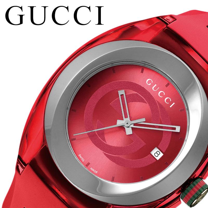 グッチ 腕時計 GUCCI 時計 シンク SYNC メンズ 腕時計 レッド YA137103A [ 人気 おすすめ 高級 ブランド 大人 かわいい かっこいい シェリーライン ラバー バンド カジュアル スポーティ ファッション ペアウォッチ ペアコーデ おそろい 彼氏 ギフト プレゼント ]