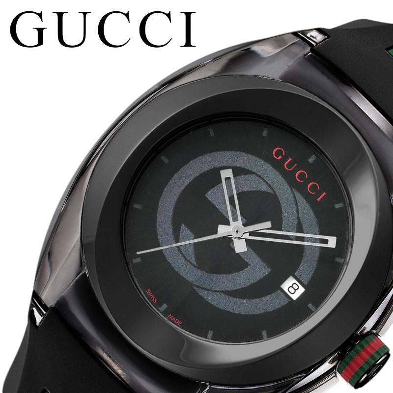 [当日出荷] グッチ 腕時計 GUCCI 時計 シンク SYNC メンズ 腕時計 ブラック YA137107A [ 人気 おすすめ 高級 ブランド 大人 かっこいい シェリーライン ラバー カジュアル スポーティ ファッション ペアウォッチ ペアコーデ おそろい 彼氏 ギフト プレゼント ]