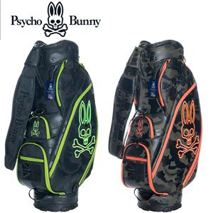 【Psycho Bunny/サイコバニー】 2018年モデル キャディバッグ PBMG8FC1 NEON CAMO ネオン カモフラージュ柄(ゴルフバッグ ゴルフ用品 ゴルフ)