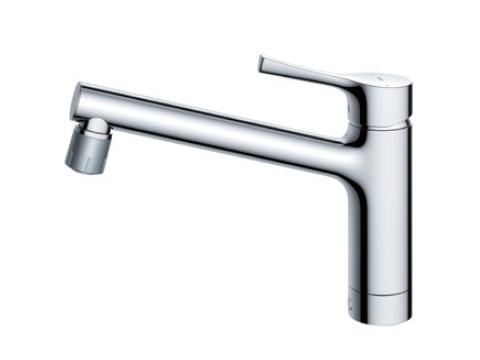 【送料無料】TOTO キッチン用エコシングル混合水栓〈台付き1穴〉(ソフト・シャワー吐水切り替え)TKS05303J