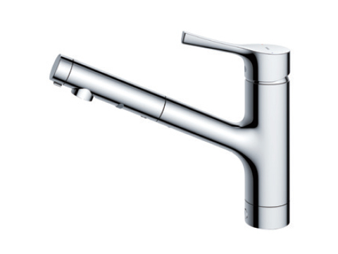 【送料無料】TOTO キッチン用エコシングル混合水栓〈台付き1穴〉(ハンドシャワー・吐水切り替え)TKS05305J