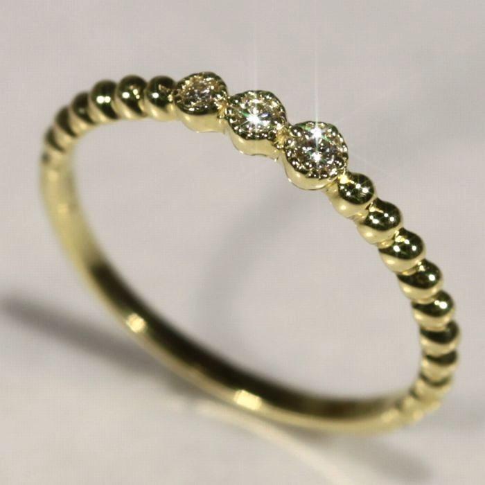 トリロジー、粒々が、とてもかわいいK18YGダイヤモンドリングD0.05ctダイヤ3粒がキラキラ輝きます。