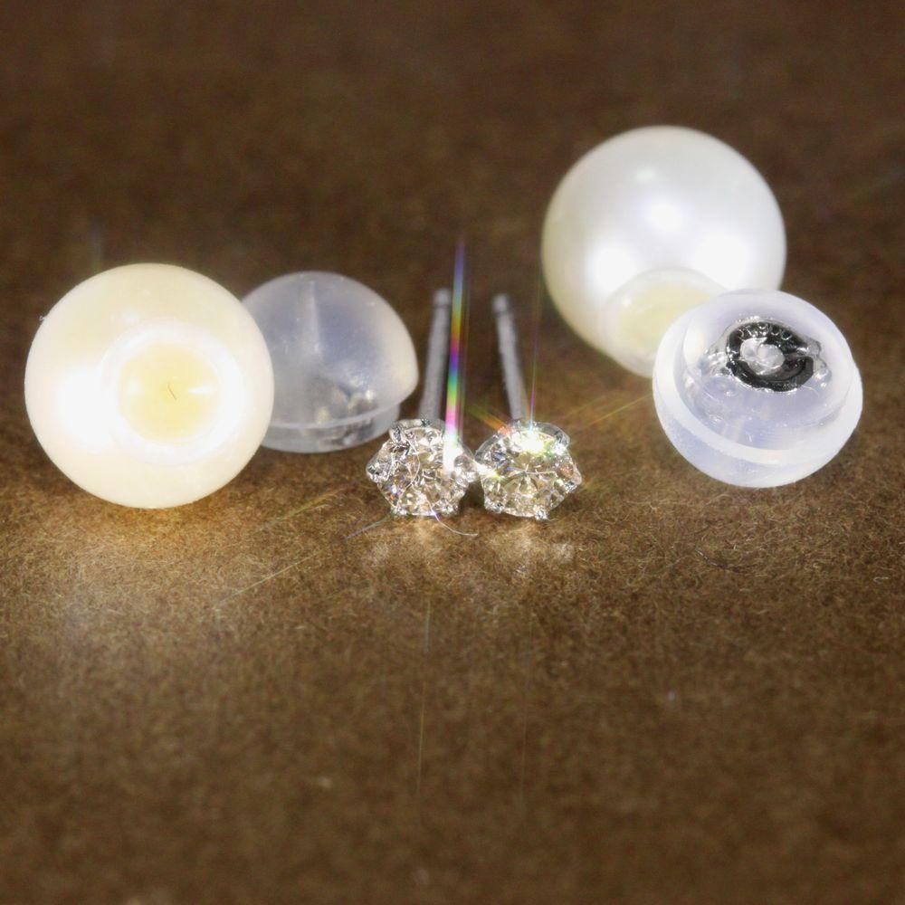 PTダイヤモンドと淡水真珠のピアス