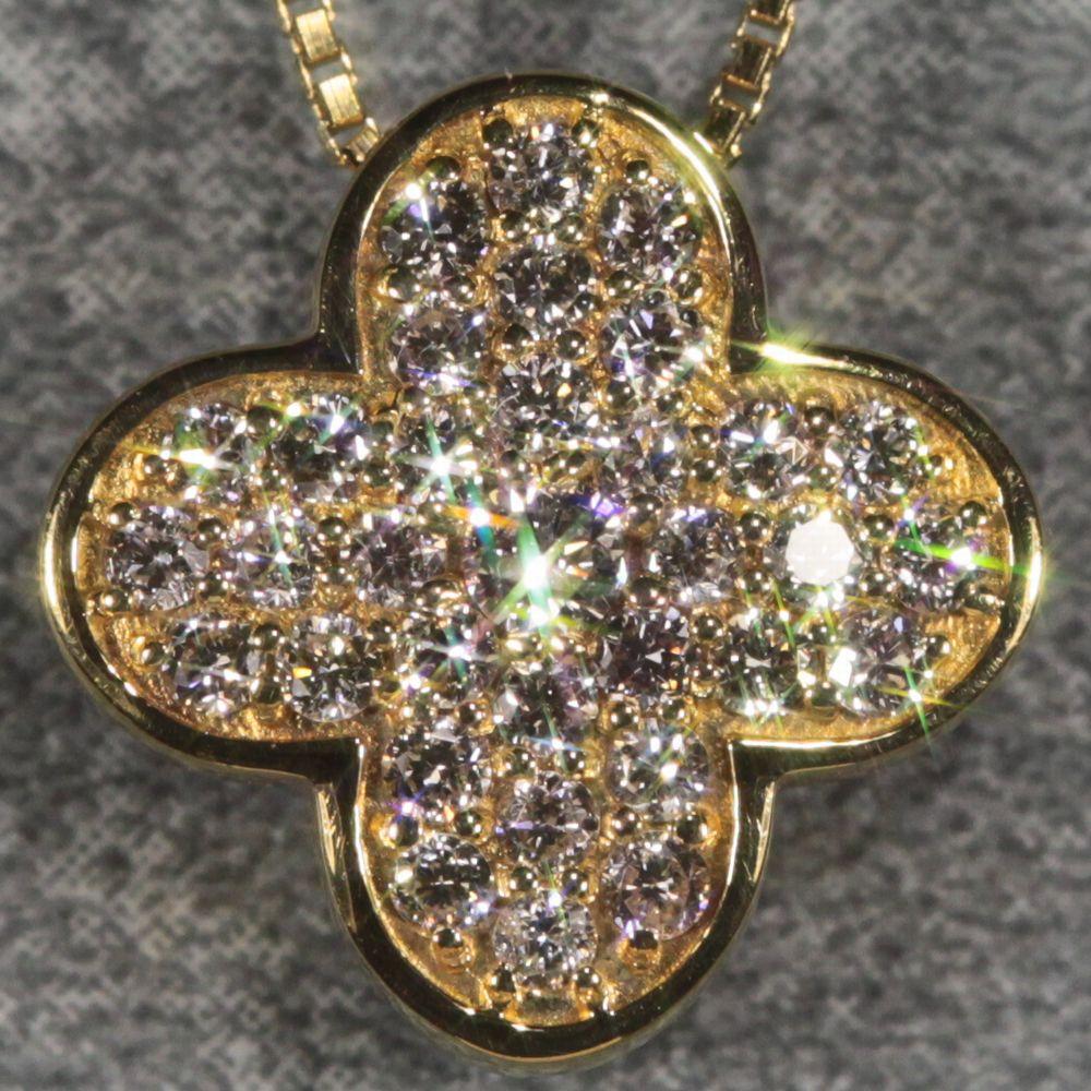 K18ピンクオパール&ダイヤモンドリバースブルネックレス