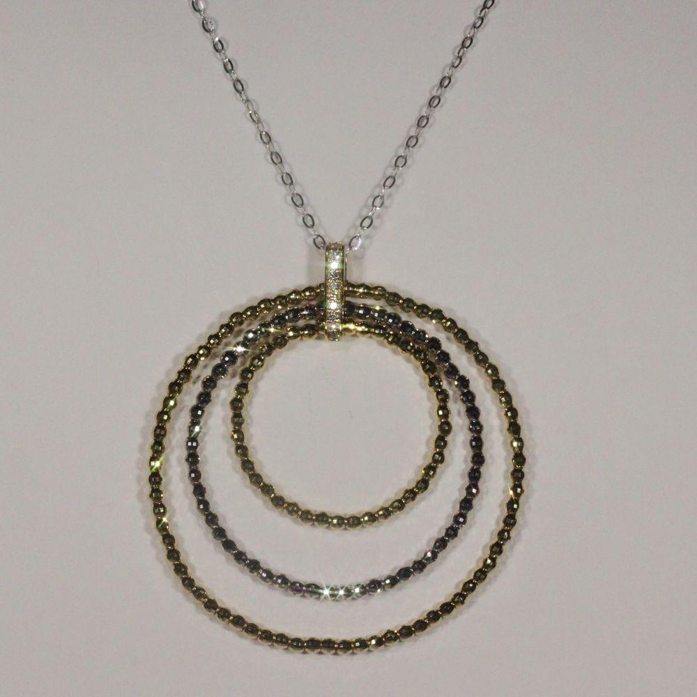 3つの輪が印象的なダイヤ使用K18/K18WGペンダントネックレス