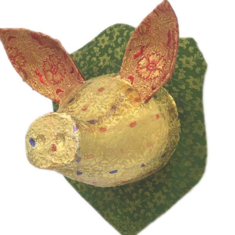 ピッグヘッド PIG Head グリーン/ゴールド 剥製 アニマルヘッド オブジェ 置物 その他 壁掛け