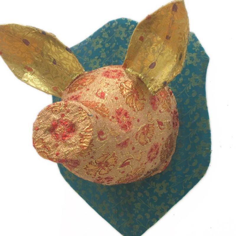 ピッグヘッド PIG Head グリーン/ゴールド/レッド 剥製 アニマルヘッド オブジェ 置物 その他 壁掛け