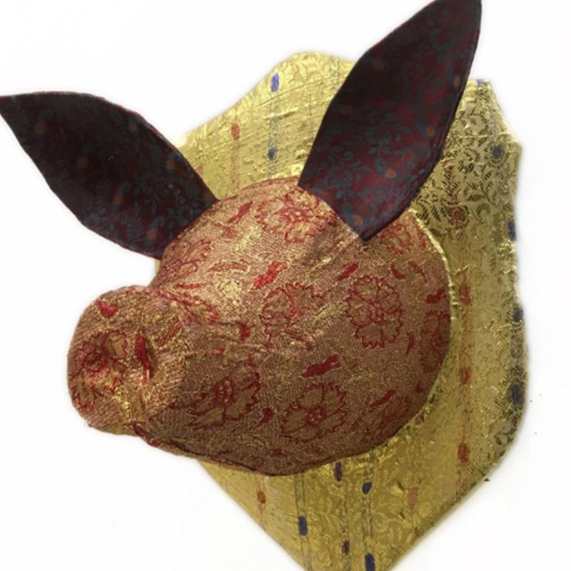 ピッグヘッド PIG Head ゴールド/レッド 剥製 アニマルヘッド オブジェ 置物 その他 壁掛け