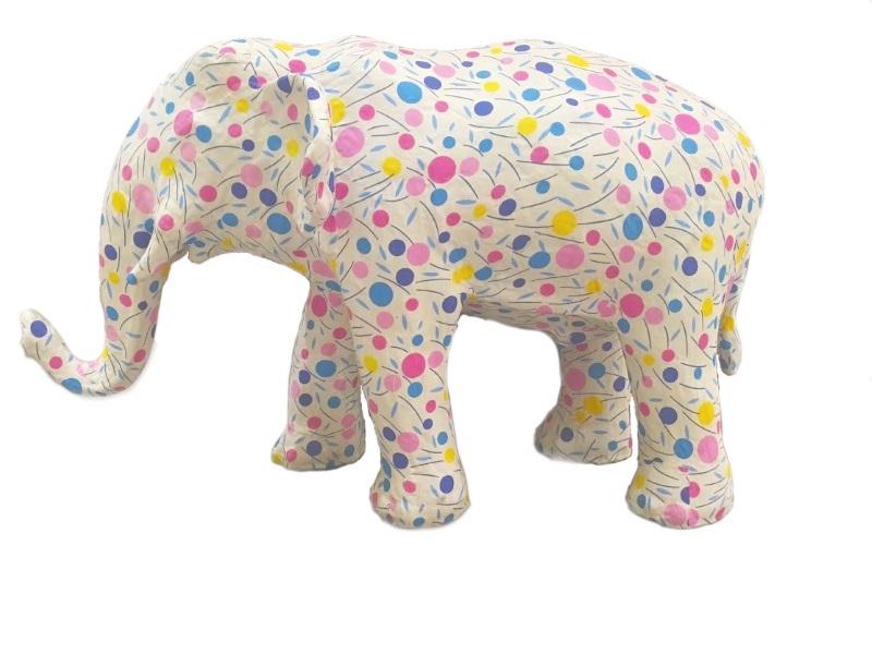 aper animal ornament Elephant ゾウ ホワイト/ドット柄 インテリア・寝具・収納 インテリア小物・置物・動物