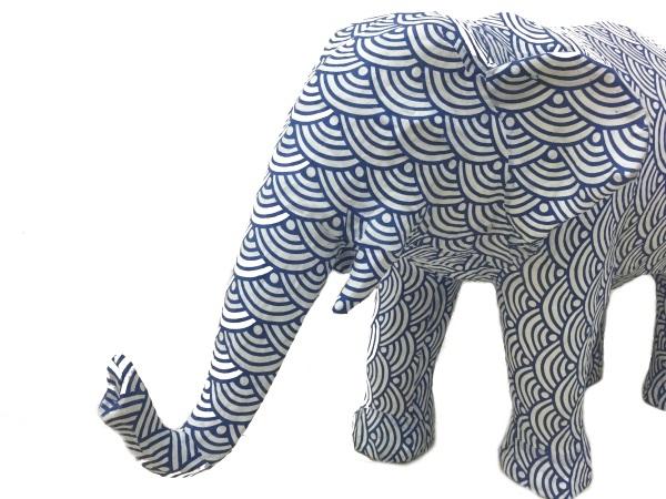 Paper animal ornament Elephant ゾウ ブルー/ホワイト インテリア・寝具・収納 インテリア小物・置物・動物