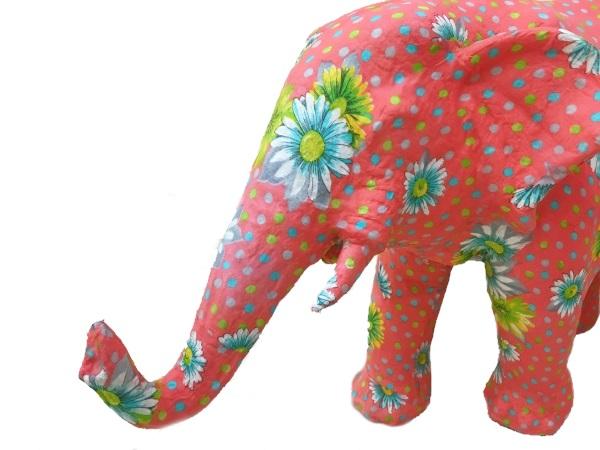 aper animal ornament Elephant ゾウ ピンク/花柄 インテリア・寝具・収納 インテリア小物・置物・動物