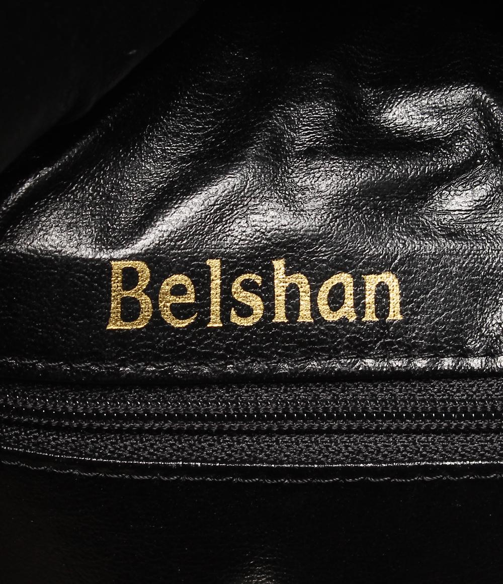 berushanreza 2WAY宽底旅行皮包Belshan男女两用[朝着斜][黑]