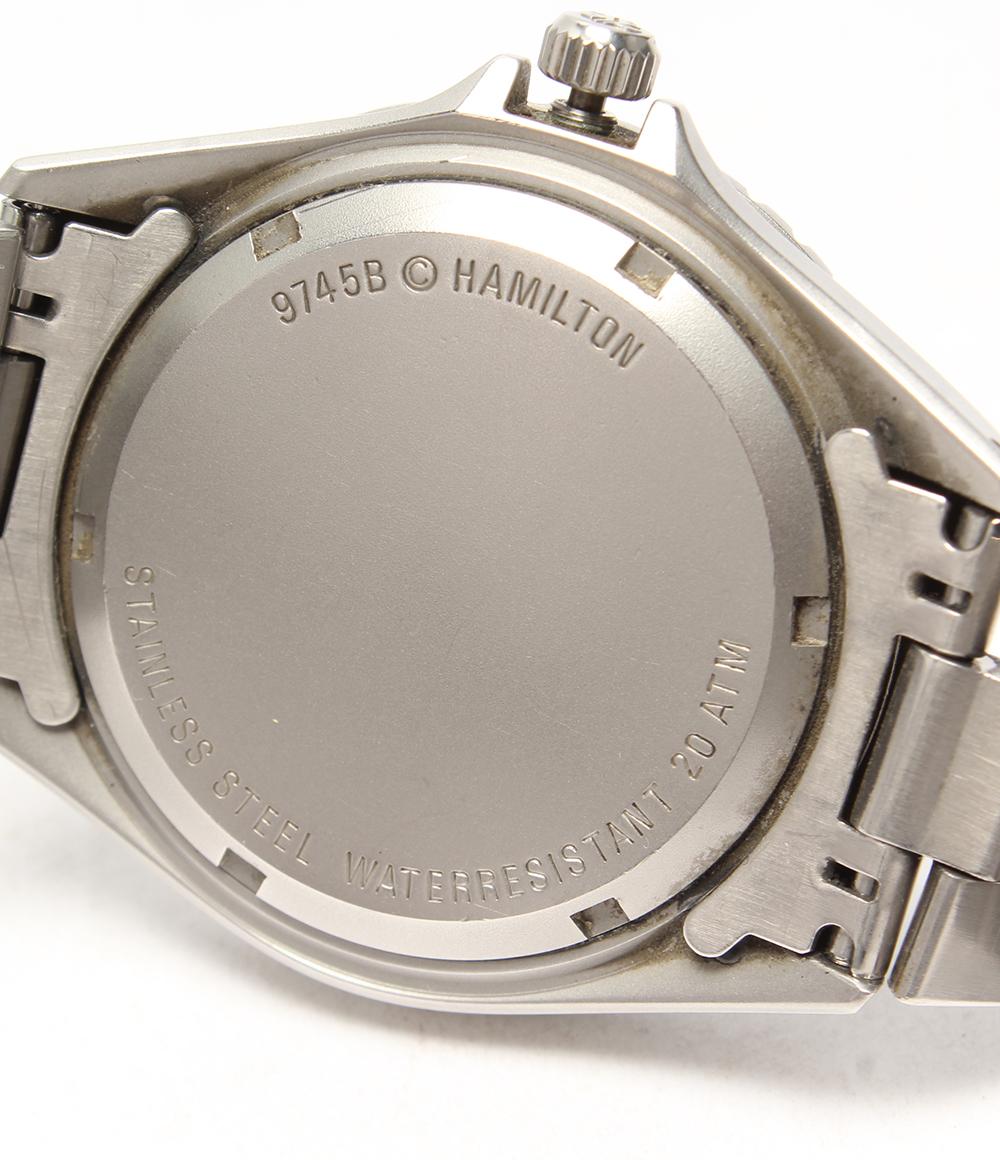 汉密尔顿黄褐色9745B日期石英黑色表盘手表HAMILTON人
