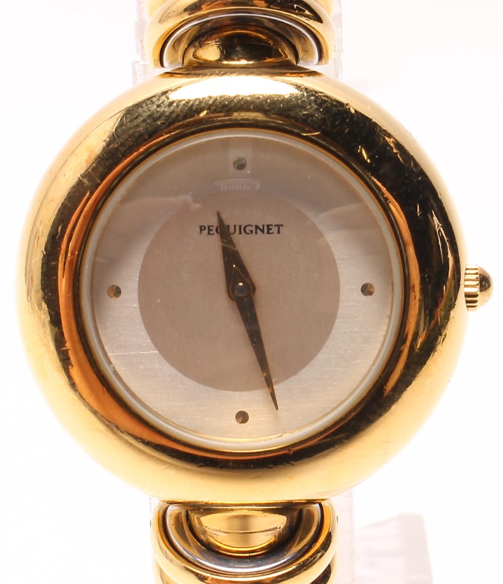 ペキネ クォーツ 腕時計 バングルウォッチ シルバー文字盤 PEQUIGNET レディース 【中古】