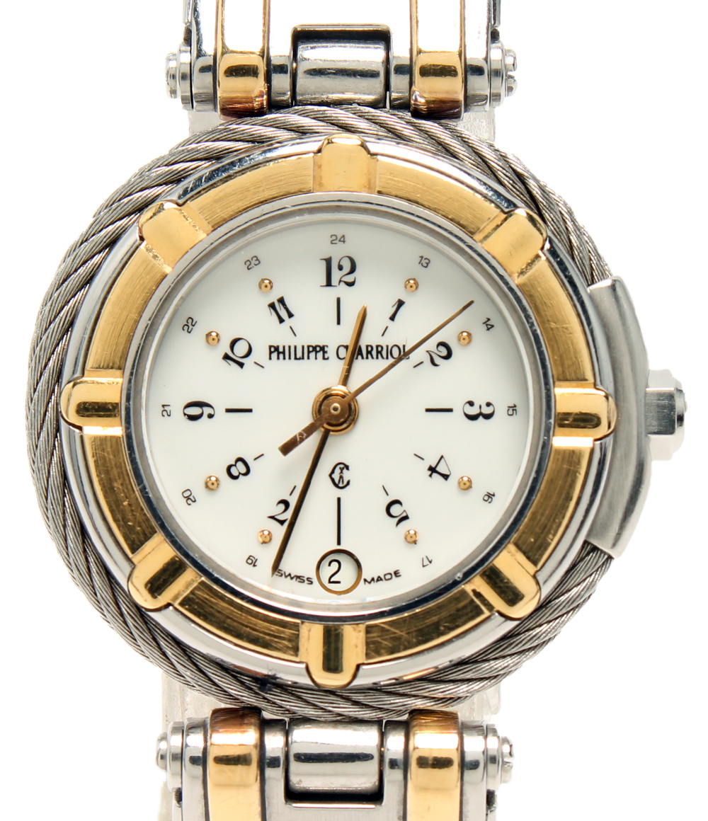 フィリップシャリオール ケルティック AC32.10 クォーツ 腕時計 ホワイト文字盤 PHILIPPE CHARRIOL レディース 【中古】