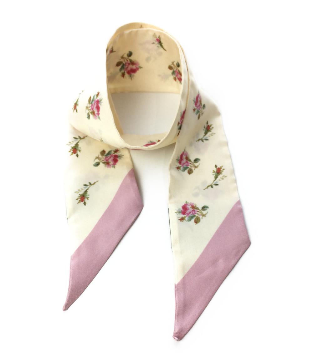 美品 グッチ シルク スカーフ 花柄 花 ツイリー ツイル ボウ GUCCI レディース 【中古】