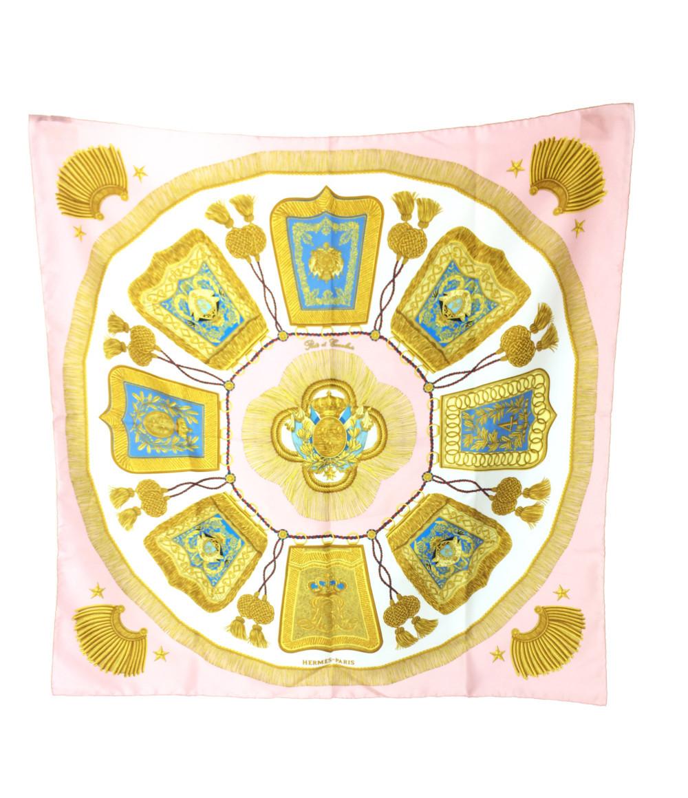 エルメス カレ90 シルク スカーフ Poste et Cavalerie サーベル飾袋 HERMES レディース 【中古】