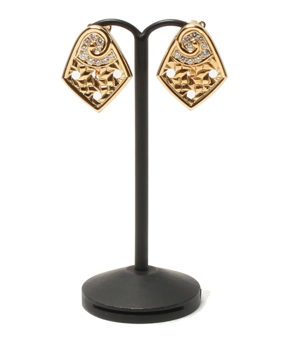 【中古】美品 クリスチャンディオール K18YG ダイヤ 透かしデザイン イヤリング Christian Dior レディース