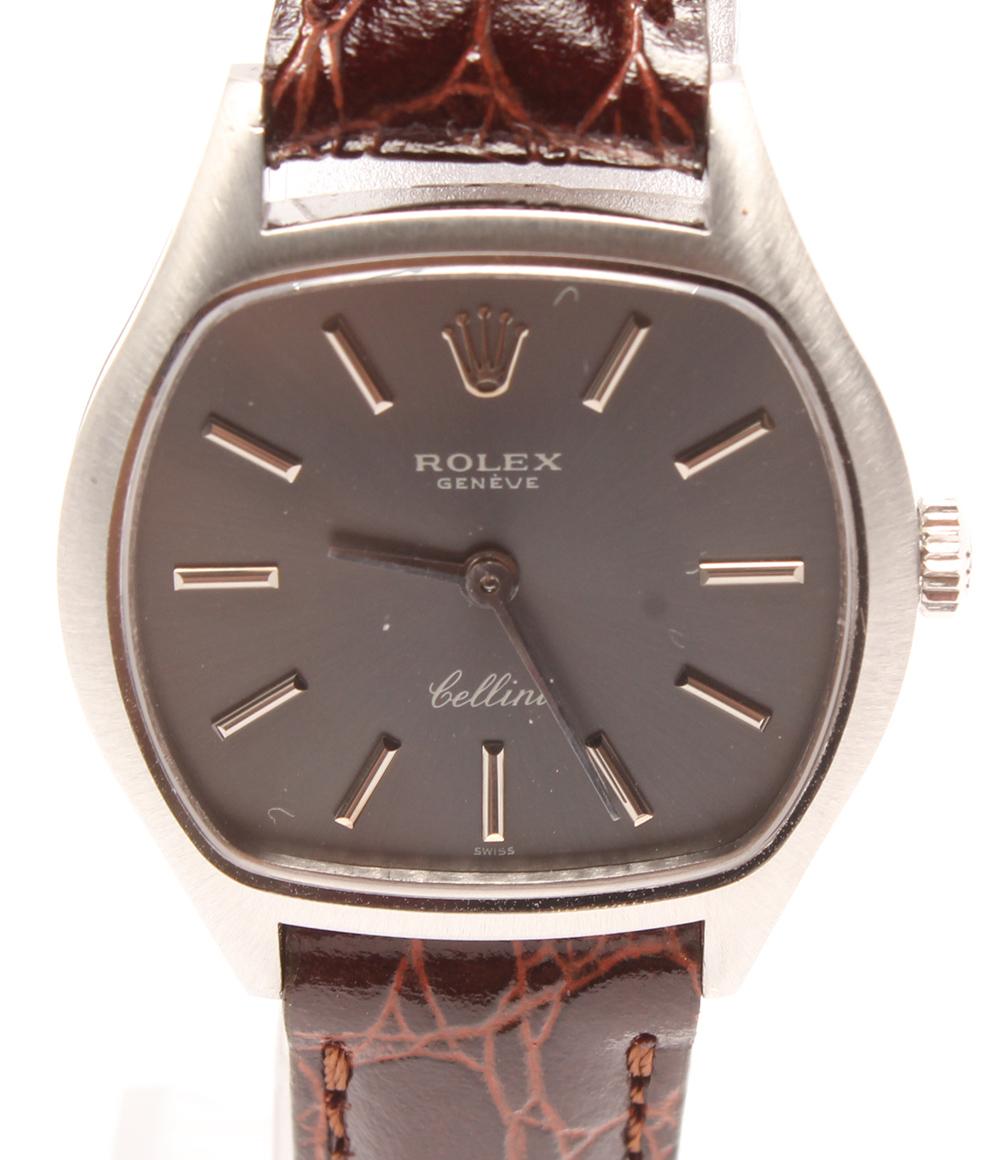 美品 ロレックス チェリーニ 3801 手巻き K18 WG 腕時計 シルバー文字盤 ROLEX レディース 【中古】