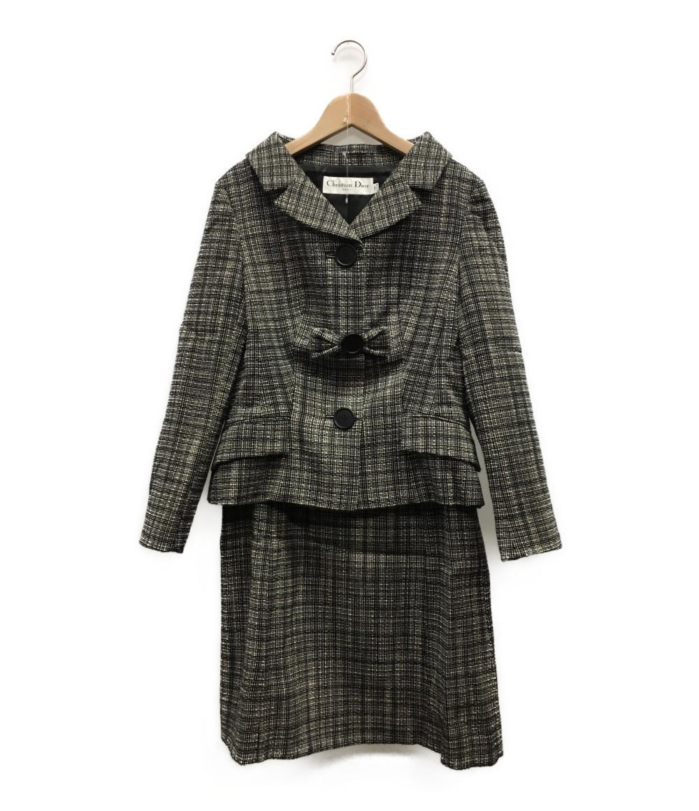 美品 クリスチャンディオール SIZE 40 (M) ツイード リボンセットアップ Christian Dior レディース 【中古】
