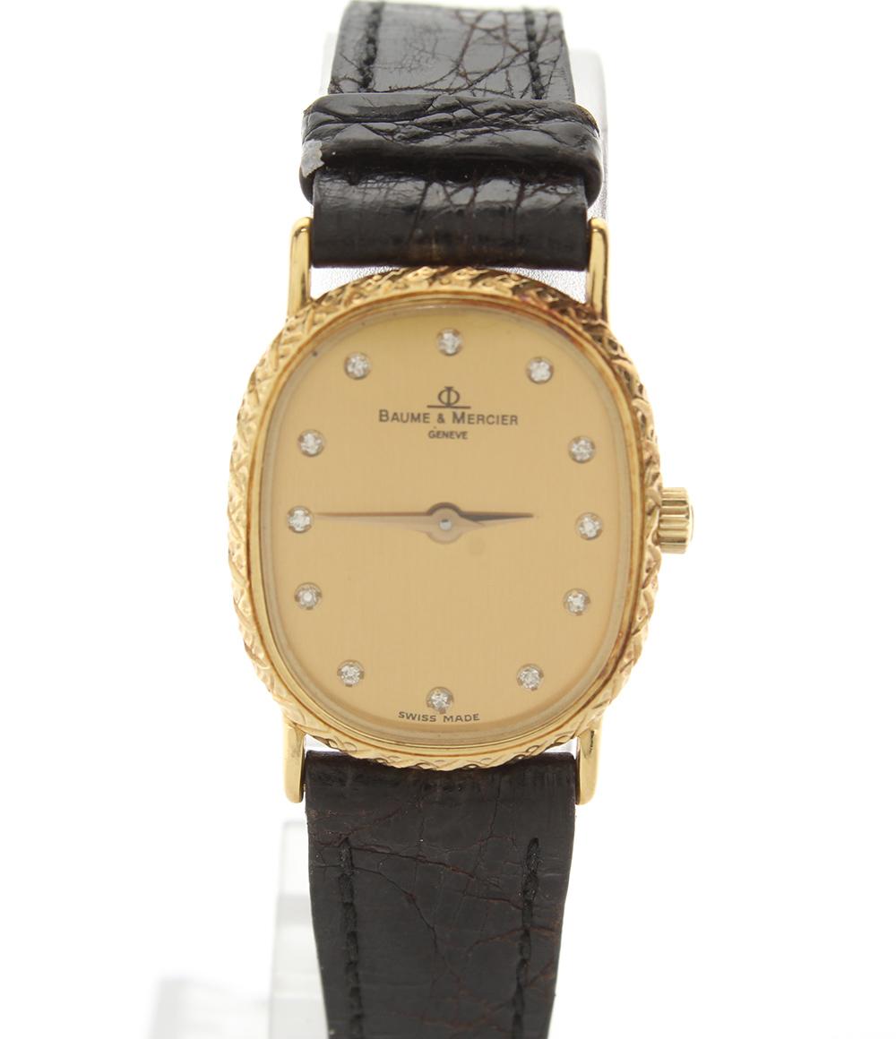 ボームアンドメルシエ 腕時計 クォーツ K18 YG 12P ダイヤ ゴールド文字盤 BAUME&MERCIER レディース 【中古】