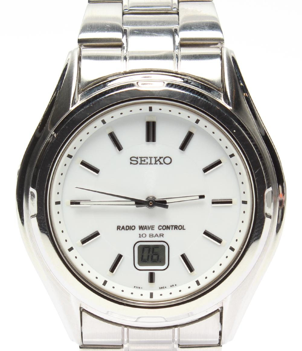 美品 セイコー 時計 P114-0BA0 電波 ホワイト SEIKO メンズ 【中古】