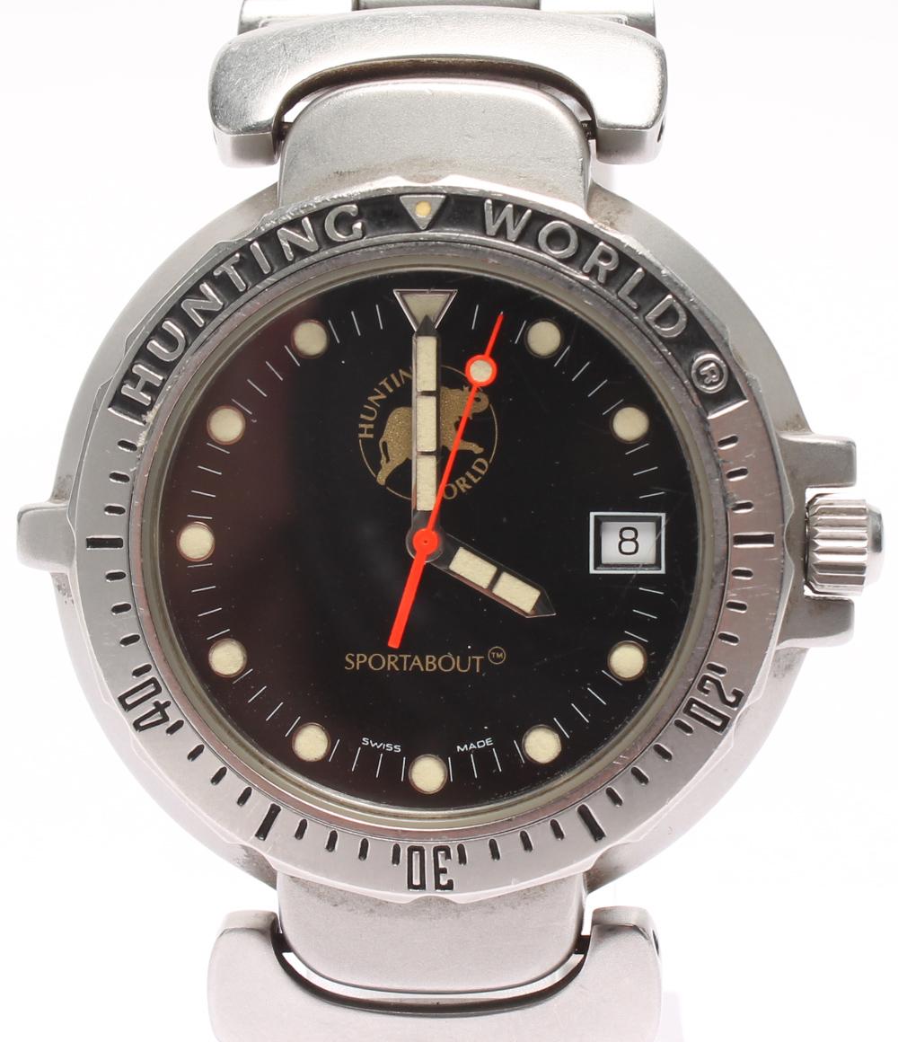 ハンティングワールド 腕時計 sportsabout SPM-01528720 クオーツ ブラック Hunting world メンズ 【中古】