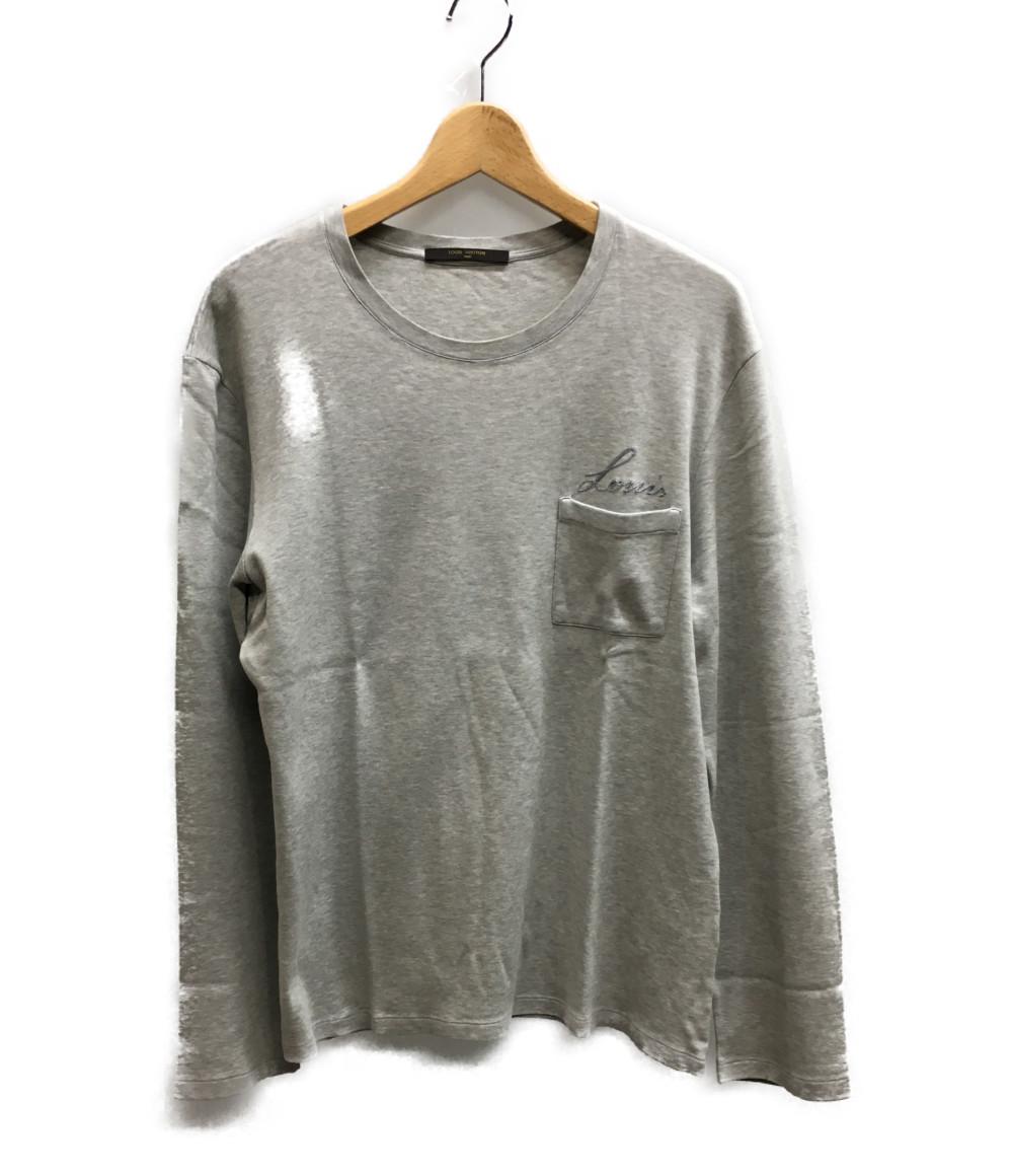 訳あり ルイヴィトン SIZE M (M) ロゴ刺繍 長袖Tシャツ Louis Vuitton メンズ 【中古】