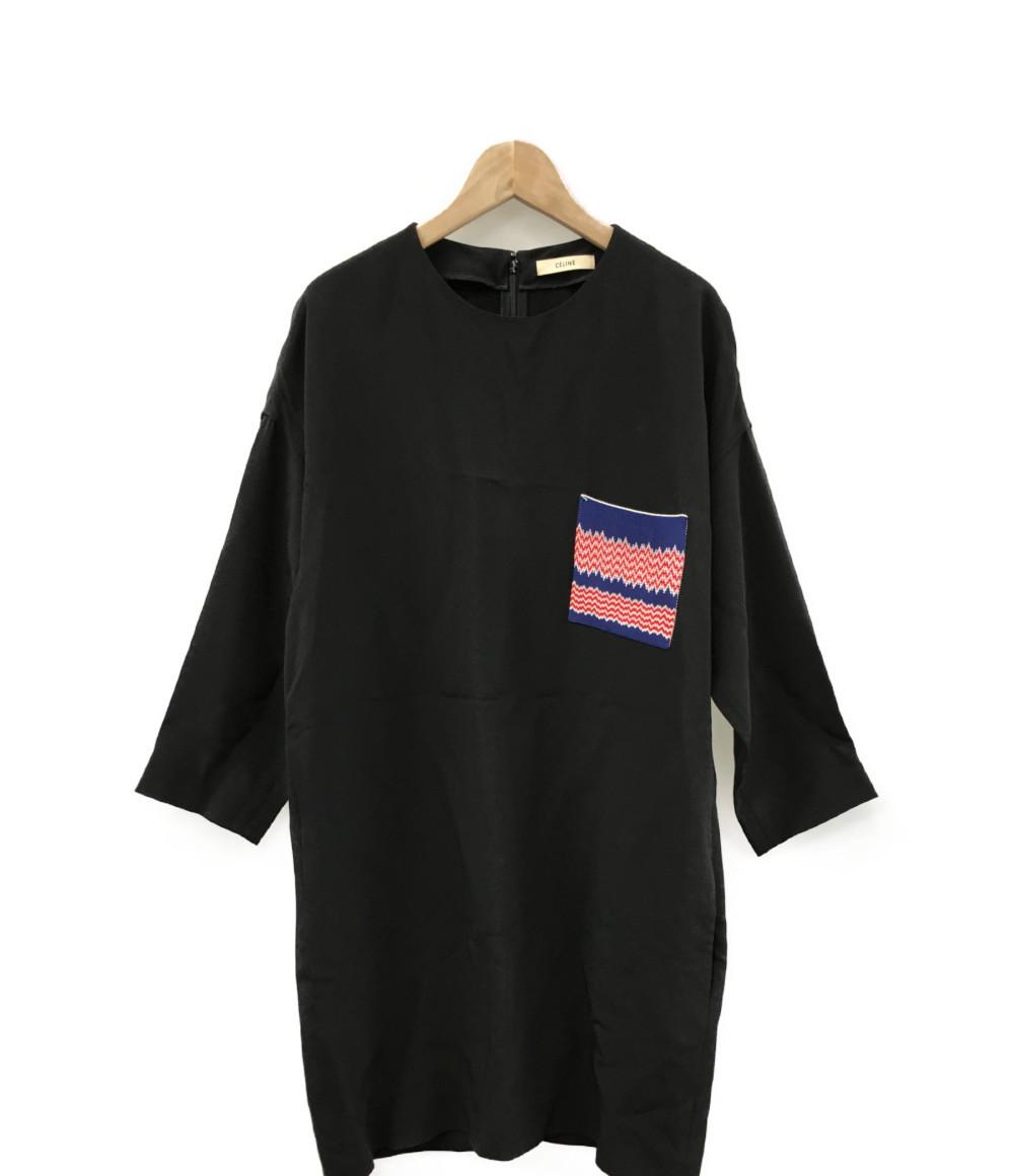 美品 セリーヌ SIZE 38Sポケット装飾 長袖ワンピース チュニック CELINE レディースlKT1cJ3F