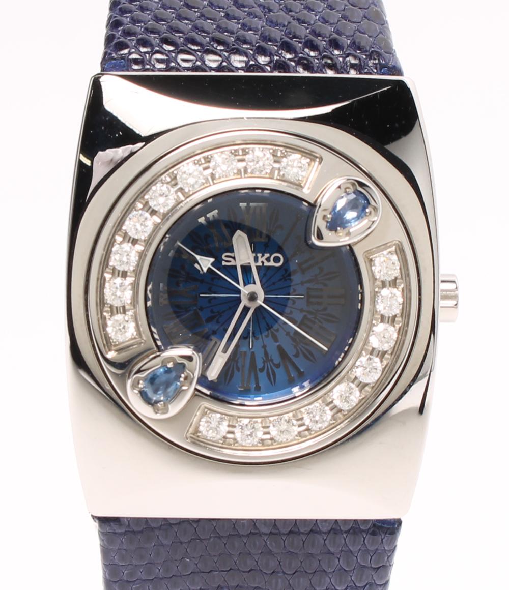 美品 セイコー 腕時計 M エム 100本限定 TRUE BLUE EYE by Yumi Matsutoya 4J45-0AC0 クォーツ ブルー SEIKO レディース 【中古】