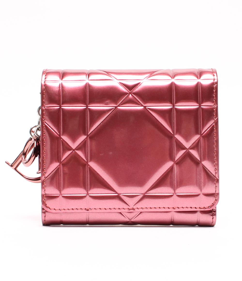 クリスチャンディオール 財布 エナメル カナージュ 現行モデル MC1102 Christian Dior レディース 【中古】