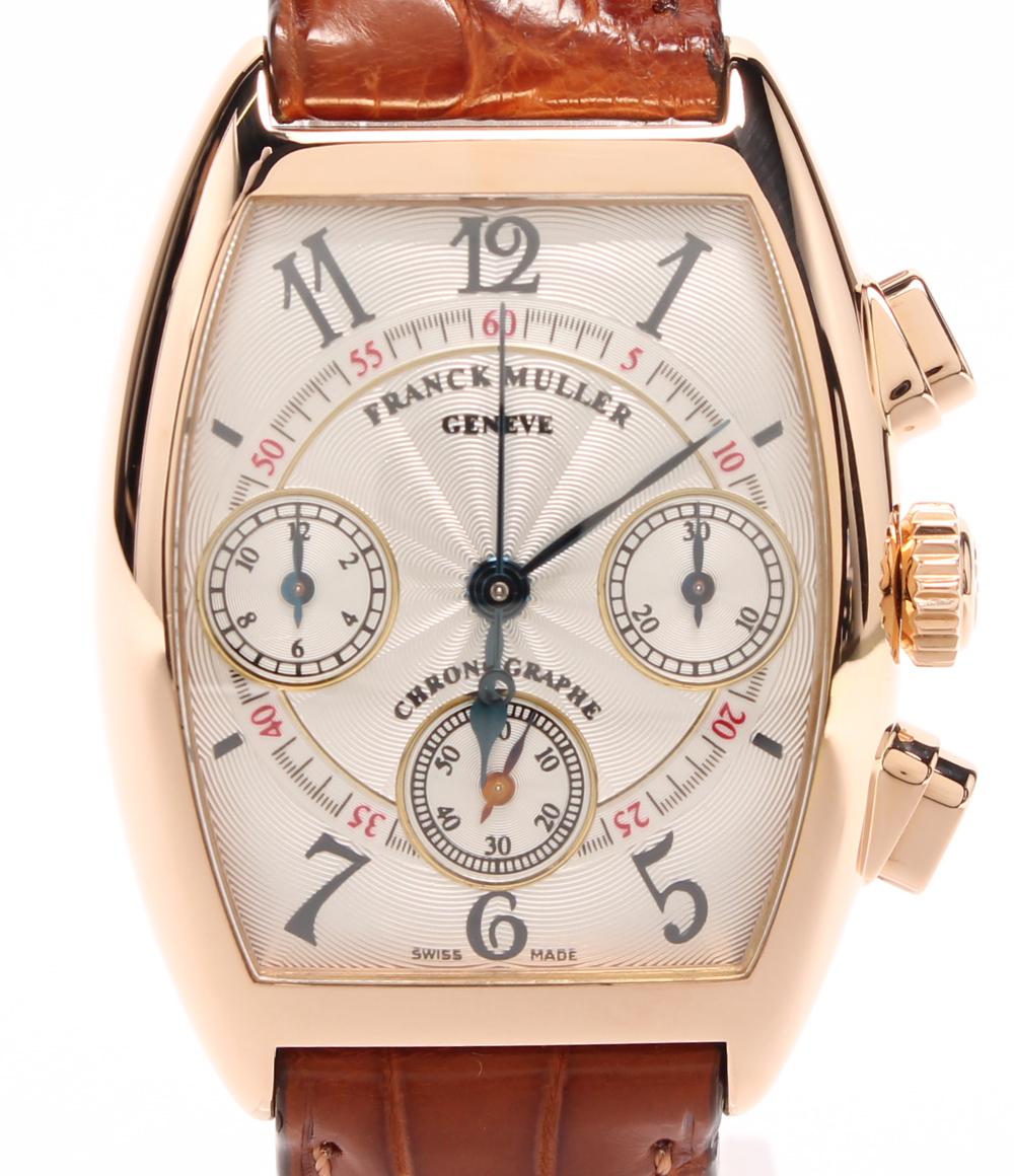 【中古】美品 フランクミュラー 腕時計 裏スケ トノーカーペックス クロノグラフ YG 手巻き 7502CC ユニセックス FRANCK MULLER