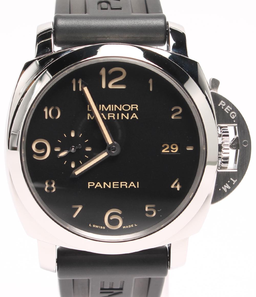 【中古】美品 パネライ 腕時計 M番 2010年 ルミノールマリーナ 手巻き ブラック 1950 OP6816 メンズ PANERAI