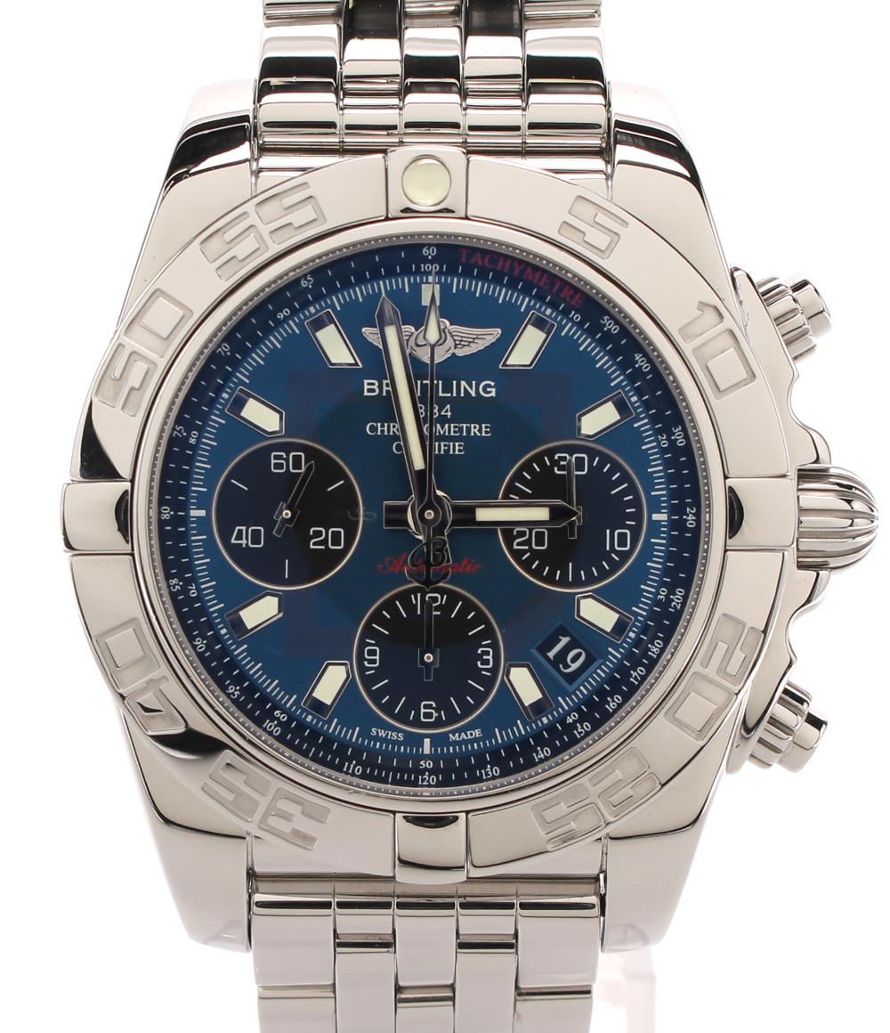 【中古】美品 ブライトリング 腕時計 クロノマット41 自動巻き ブルー AB0140 メンズ BREITLING