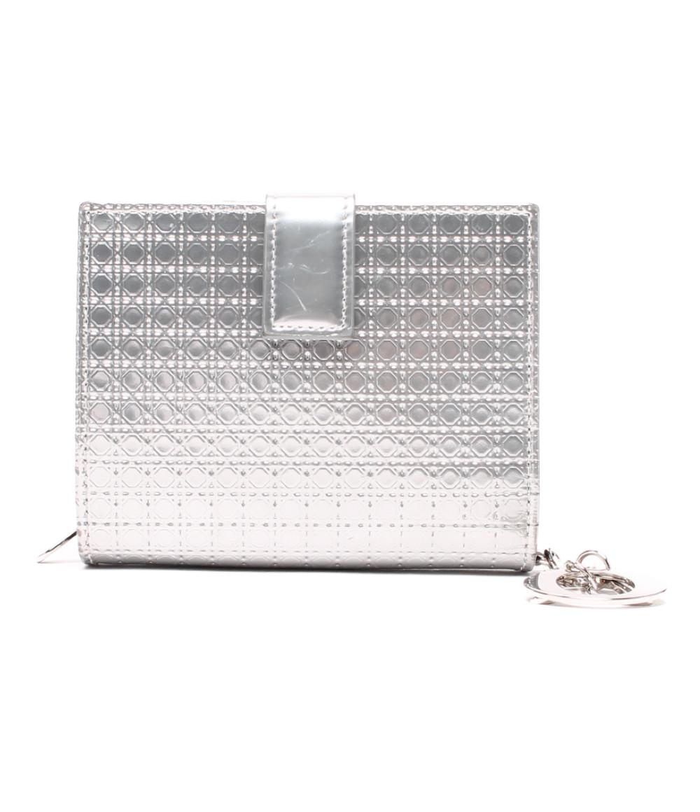 【中古】クリスチャンディオール 二つ折り財布 カナージュ レディース Christian Dior