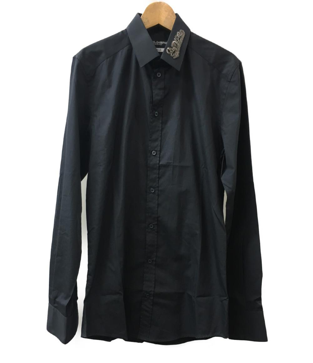 【中古】美品 ドルチェアンドガッバーナ 襟 ロゴ 長袖シャツ G5DM6Z GE515 メンズ SIZE 15/38 (S) DOLCE&GABBANA