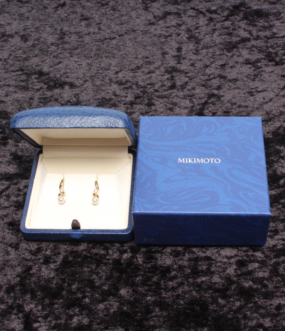 美品 ミキモト ピアス 雪結晶モチーフ パール 6 2mm K18 レディース MIKIMOTOYvybf76g