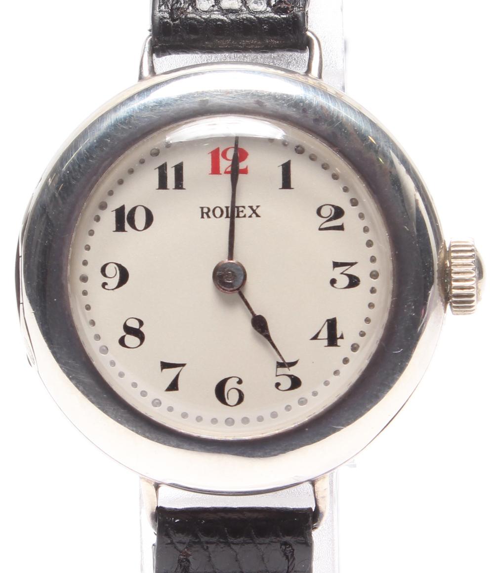 【中古】訳あり ロレックス 腕時計 ポーセリングダイヤル 手動巻き ホワイト レディース ROLEX