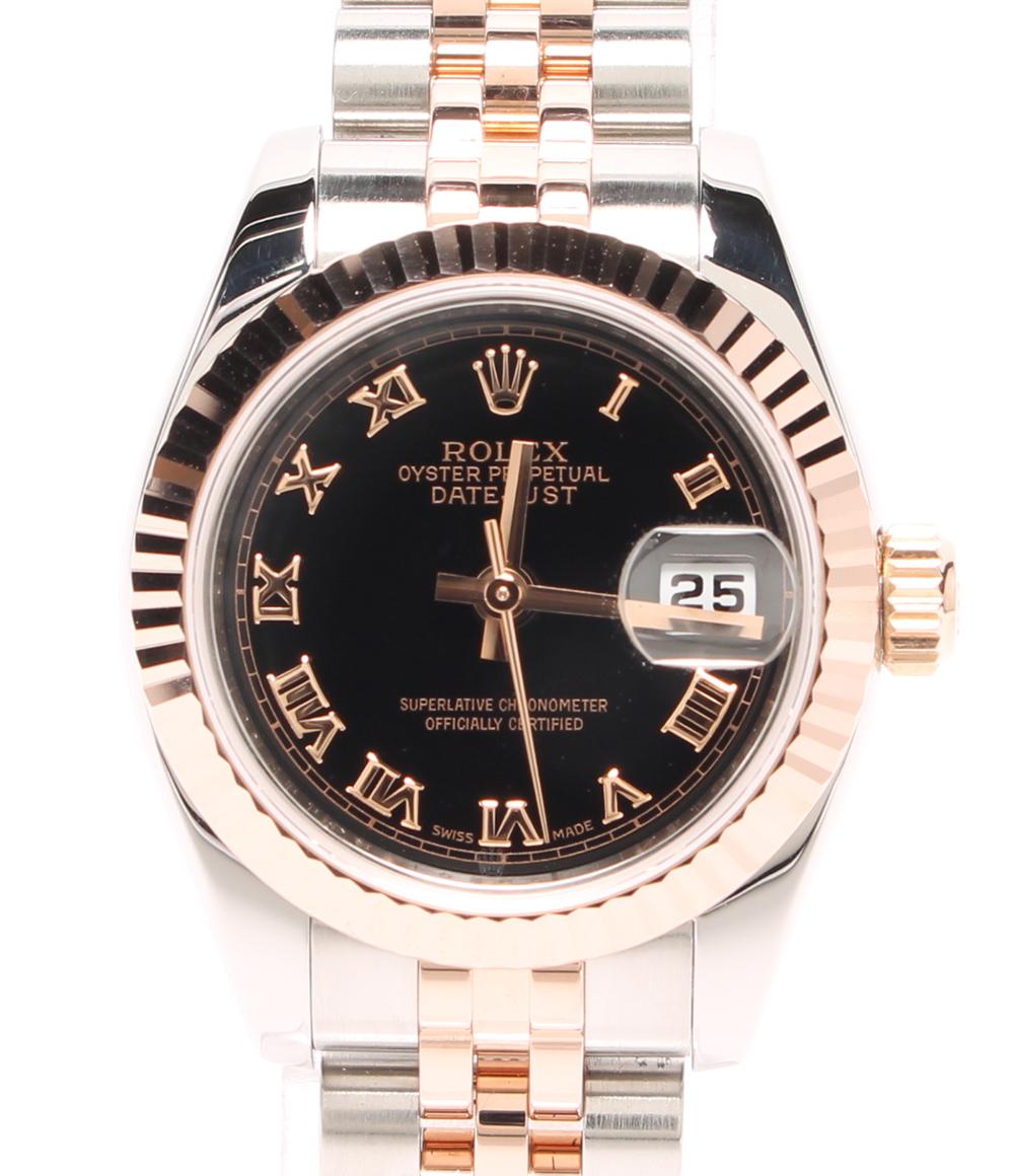 【中古】ロレックス 腕時計 デイトジャスト 自動巻き ブラック 179173 レディース ROLEX
