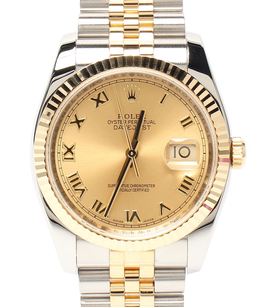 【中古】美品 ロレックス 腕時計 2006年製造 ゴールド文字盤 ローマン デイトジャスト コンビ 自動巻き ゴールド 116233 メンズ ROLEX