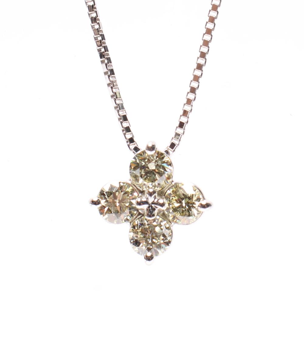 【中古】美品 タサキ ダイヤ 1.02ct クローバーモチーフ ネックレス Pt850 Pt900 レディース TASAKI