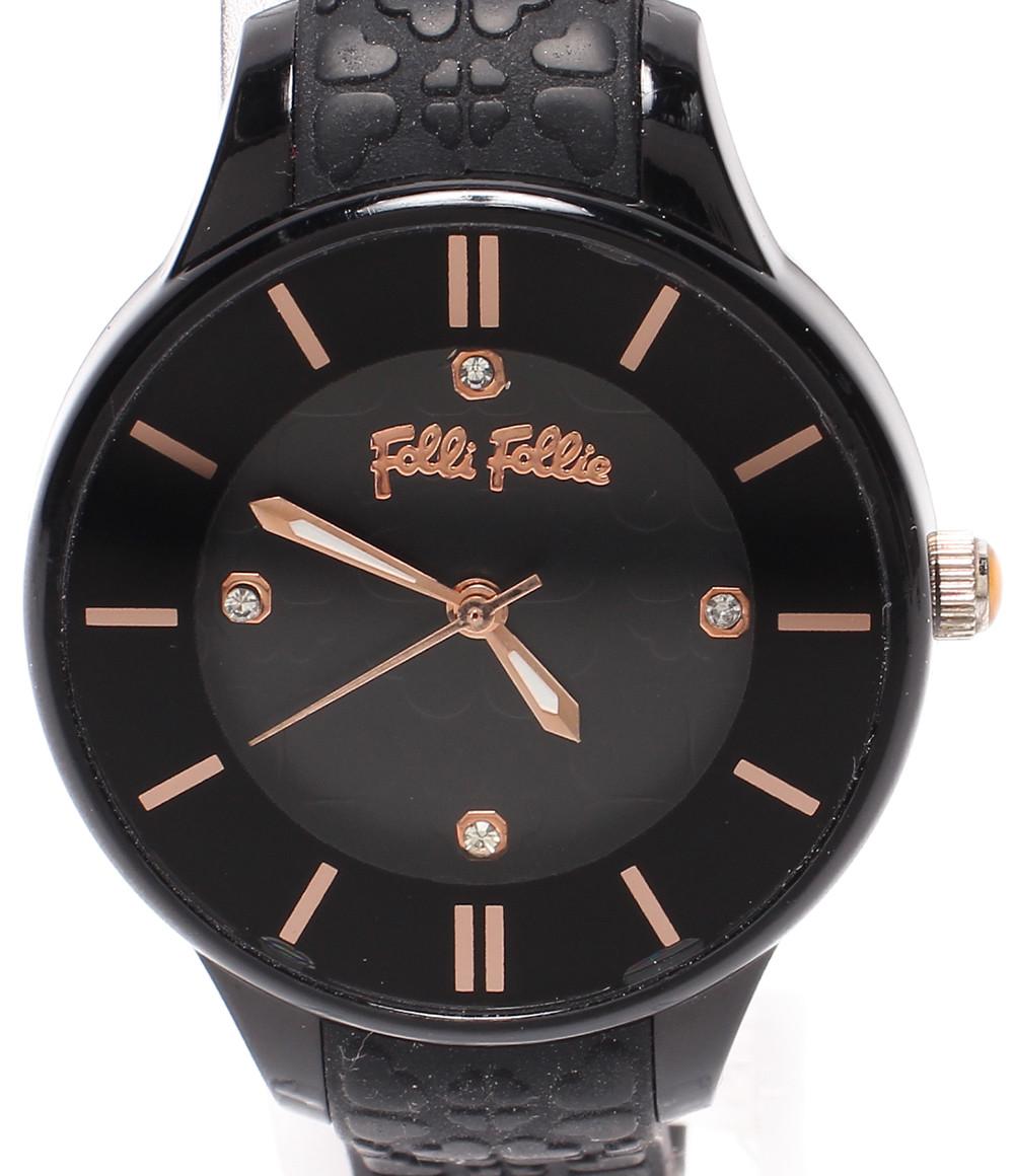 【中古】フォリフォリ 腕時計 クオーツ ブラック WF15P027ZSK レディース Folli Follie