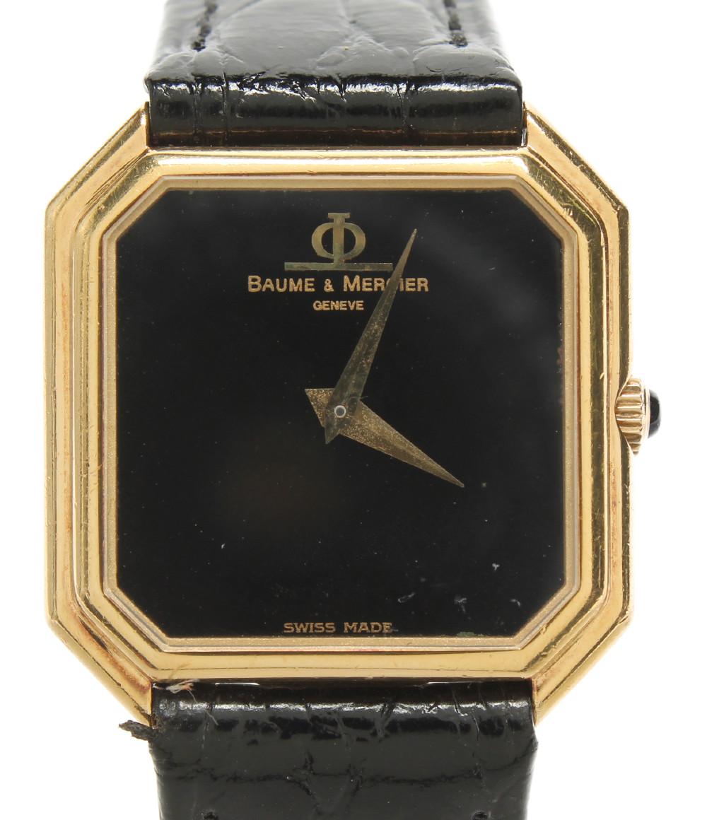【中古】ボームアンドメルシエ 腕時計 手巻き ブラック 610489 メンズ BAUME&MERCIER