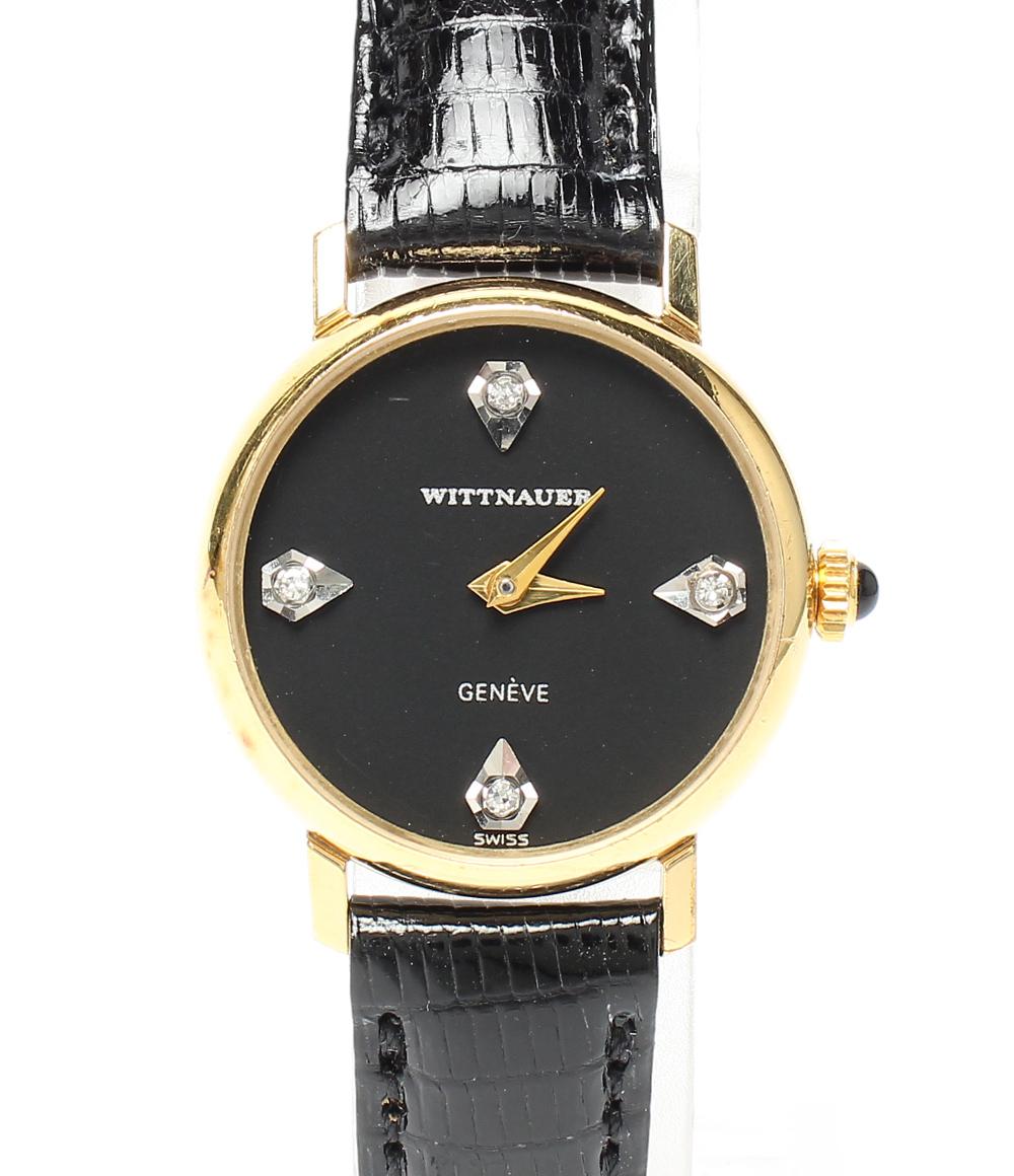 【中古】ウイットナー 腕時計 ダイヤ4P 手巻き ブラック レディース WITTNAUER