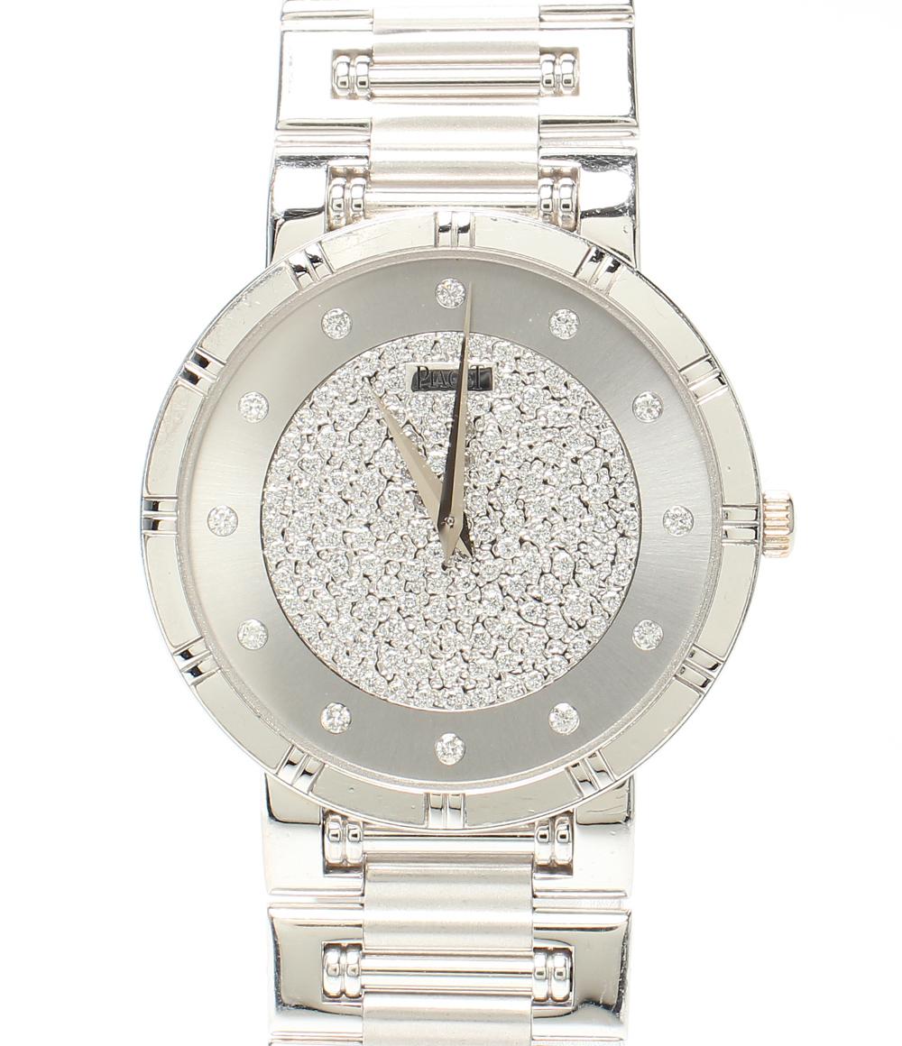 【中古】ピアジェ 腕時計 K18WG ダイヤ ダンサー クオーツ シルバー 84023 メンズ PIAGET